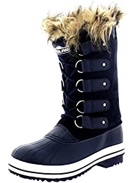 Mujer Manguito De Piel Cordones Caucho Invierno Lluvia Zapato Botas