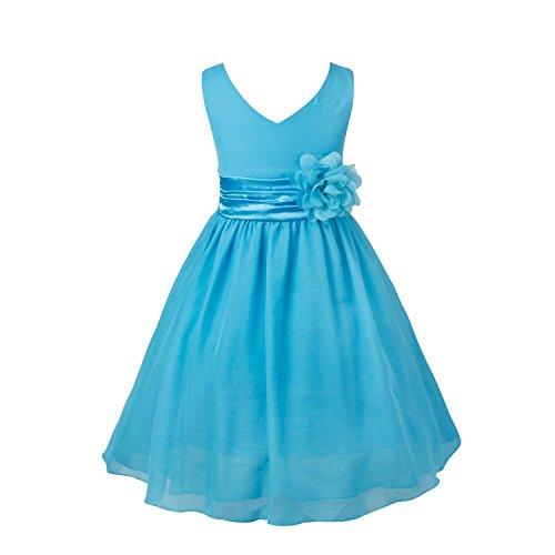 df252c091 Freebily Vestido Infantil de Fiesta Bautizo sin Mangas para Niña (2-14  años) Vestido Elegante de Princesa Chica