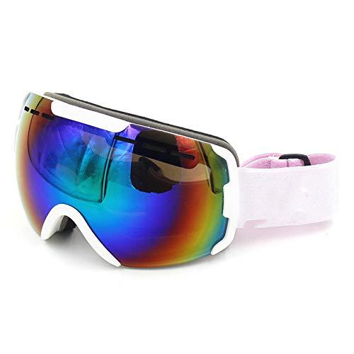 KTUCN Doppelscheibe Snowboardbrille Herren Damen Anti Fog UV400 Sonnenbrille Schnee Skibrille, weißer Rahmen