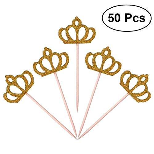 en Topper Glitzer Cupcake Topper Deko Picker für Hochzeit Party Valentinstag Baby Dusche Golden 50 Stück ()