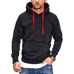 JACK & JONES Herren Hoodie Kapuzenpullover Benny Hood Casual Unifarben Meliert Streetwear
