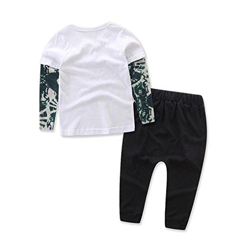 Saingace Bébé Garçon Lettre Tatouage T-shirt Tops Un pantalon Vêtements (Label Size:90(12-18mois), Blanc) Blanc