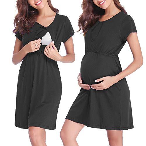 Abollria abiti da premaman a allattamento vestiti casual per donna incinta a gestante a maternità camicia da notte con maniche corte per estate taglie forti