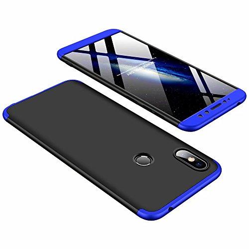 DESCHE Funda Xiaomi Redmi S2 Azul Negro PC Duro 360 Grados Cuerpo Completo Cubierta Protectora Ultrafino Anti-rasguños Parachoque Mate Phone Case 3 in 1 Azul Negro