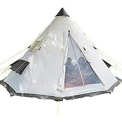 SKANDIKA Tippi - Tente Tipi Indien - 6 Personnes - Hauteur 2m50 Diamètre 3m65 - Gris