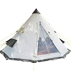 skandika tipii 6 person tent festival party tent teepee wigwam | 250 cm tall insect free with sewn-in groundsheet | 3000 mm water column