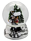 Minium Collection 20094 Schneekugel Romantischer Winterspaziergangt Winter & Weihnacht Silber-Sockel Landschaft mit Spieluhr Jingle Bells Durchmesser 100mm