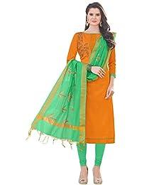 Women'S Orange Semi Stitched Embroidered Banglori Cotton Dress Material