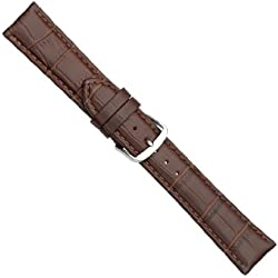 "Uhrbanddealer 22mm Ersatzband Uhrenarmband ""Trend"" Alligator Print Kalb Leder Band Braun 776822s"