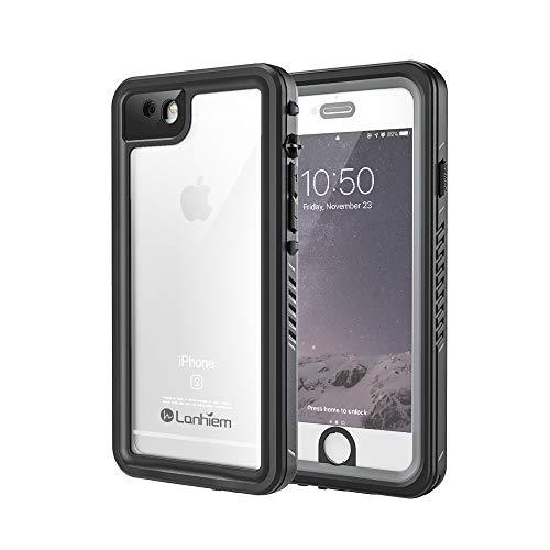 Lanhiem für iPhone 6S Hülle, iPhone 6 Hülle, [IP68 Zertifiziert] Wasserdicht Handy Hülle mit Eingebautem Displayschutz, Stoßfest Staubdicht und Unterwasser Outdoor Schutzhülle, Schwarz+Grau - Cover Handy Wasserdichte 6 Iphone