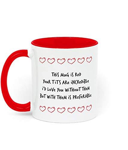 Lustige Tasse zum Valentinstag Geschenk für Sie mit Frech Gedicht über Titten