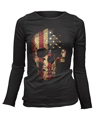 Damen Longsleeve T-Shirt Totenkopf Vintage Skull USA Flagge Rock Grunge (Rock-film-t-shirt)