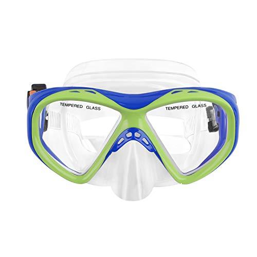 YSXY Kinder Schwimmbrille Taucherbrille UV Schutz & Anti-Fog Schwimmen Brille Schutzbrillen für Mädchen und Jungen, Verstellbares Silikonband (Grün und Blau)