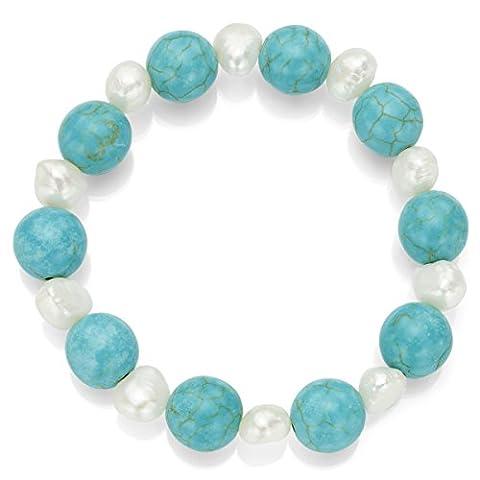 12mm howlite Turquoise artificielle et 8–8,5mm Blanc perle de culture d'eau douce Bracelet extensible, 19,1cm