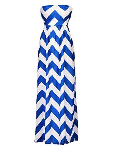 MEXI Bandeau Kleid Frau Hoch Taille Rock Lang High Waist Sleeveless Rock Blau