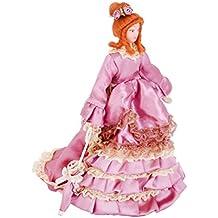 Dollhouse Bambole Di Porcellana In Miniatura Donna Vittoriana In Gonna Drappeggiata Viola