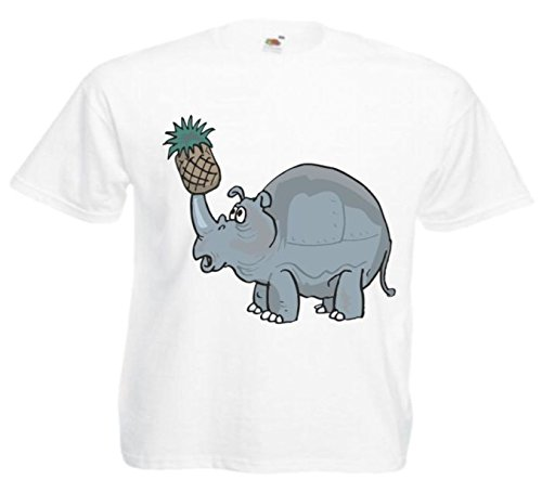Motiv Fun T-Shirt Nashorn mit der Ananas Cartoon Spass Kult Film Motiv Nr. 12312 Weiß