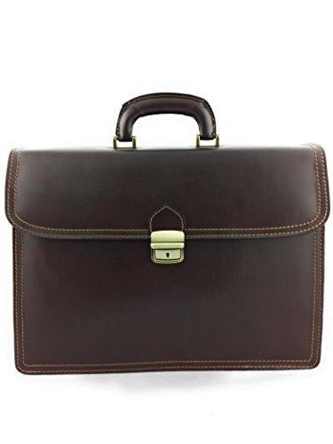 Zerimar Sac porte-documents en cuir Compartiments multiples Mesures 40x12x30 cms Braun