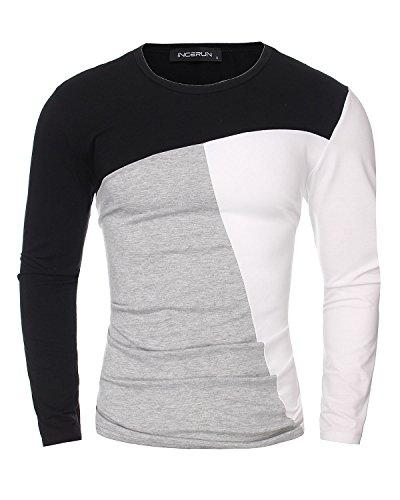 StyleDome T-shirt Maglietta Camicetta Manica Lunga Casuale Cotone Sportiva Sexy Ufficio per Uomo (ASIA L, Bianco)