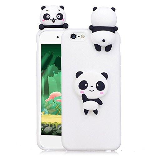 Cover iPhone 6s plus Custodia iphone 6 plus Silicone 3D Cartoon Leton Morbido TPU Gel Case per Apple iPhone 6s plus / 6 plus (5.5 pollici) Ultra Sottile Flessibile Satinato Gomma Caso Anti Graffio Ant Panda Bianca