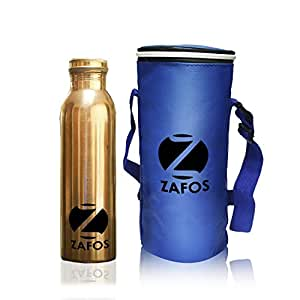 Zafos Pure Copper Yoga Water Bottle, 1000ML Handmade, Joint Free & Leak Proof for Ayurvedic Health Benefits