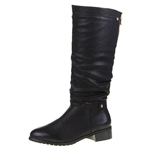 Damen Schuhe, 495-PG, STIEFEL Schwarz
