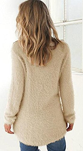 BLACKMYTH Mohair Femme Solide Tricot Chandail Manches Longues Grande Taille Pulls Sweater apricot
