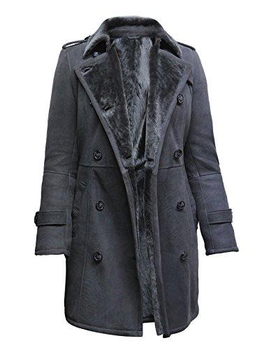 Brandslock Damen Luxury Grau Spanisch Merino Pelz Schaffell Gürtel Pea Mantel Deutsche Marine Lang Duffle Coat Ideal für den Winter Neueste Design (XL, Grau)