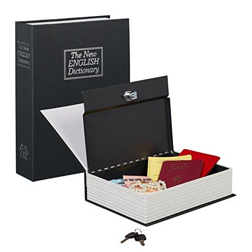Relaxdays Buchtresor groß, verschließbar, Stahlkassette, mit 2 Schlüsseln, Geldkassette HxBxT: 27...