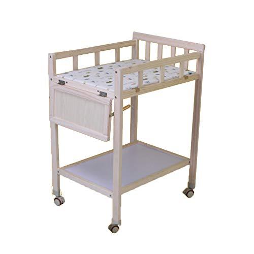 Baby Wickeltisch Wickeltisch for Kinder mit Rollen aus Holz, Wickelaufbewahrung mit Unterlage for Neugeborene/Kleinkinder - 84x49x88cm -