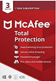 McAfee Total Protection 2021 | 3 Device | 1 Year | Antivirus Software, Internet Security, Password Manager, Mo