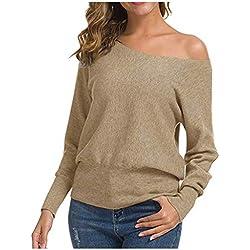 ASHOP Femmes Pulls Mode T-Shirt Pullover Couleur Unie Sweater Chandail Manches Longues Ample Tops Courte Chemise Slim Automne Et Hiver Casual, Pull LâChe Hauts Epaule Nue
