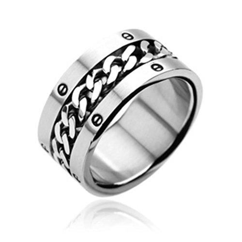 Paula & Fritz acciaio chirurgico anello® in acciaio inox 316lring anello argento collana Rolò 60(19)-75(24) r7048, acciaio inossidabile, 66 (21.0), cod. R7048-12