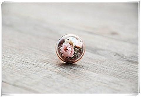 Terrarium Terrarium, véritable fleur, or, Fleurs véritable Bague, véritable, mousse, romantique, Bijoux, fiole en verre terraium, nature préservé