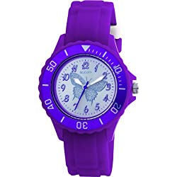 Tikkers Girls Purple Rubber/silicone Strap Watch with Silver Glitter butterfly TK0035