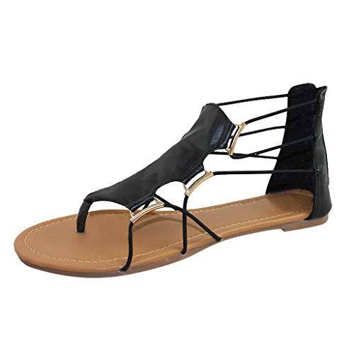 POIUDE Frauen Sandalen Wohnungen Schuhe Lässiger Retro Rutschfeste Peep Toe Kreuzgurt Typ Coole Strand Urlaub Schwarz(Schwarz, 40)