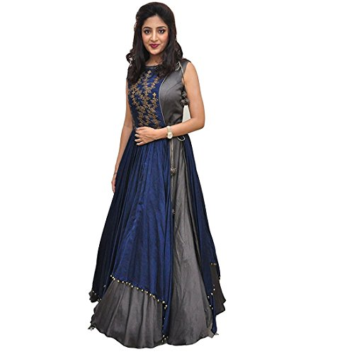 Active Women\'s Banglory Silk And Tapeta Designer Anarkali Gown (Free Size_Grey)