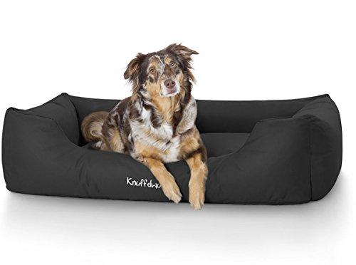 Knuffelwuff 13093 Wasserfestes Pflegeleichtes Hundebett Finlay - Größe M - L, 85 x 63 cm, schwarz