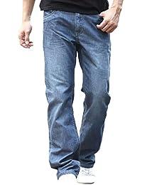 Pantaloni Diritti dei Jeans degli Uomini degli Uomini Pantaloni Larghi del  Classiche Denim del Palazzo Allentato df464817d4d4