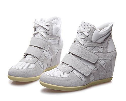 Padgene Baskets Mode Compensées Scratch Suede Nylon Cuir Sneakers Hautes Lacets Chaussures de ville Grande Taille 34 39 40 Femme Blanc