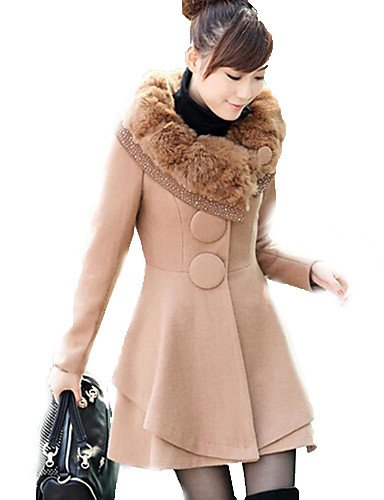 GS~LY manica fashoin cappotto lungo casuale , camel , xl