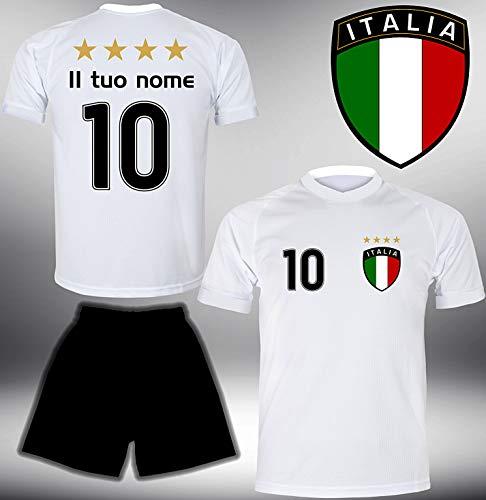 ElevenSports Italien Trikot Set 2018 mit Hose GRATIS Wunschname + Nummer im EM WM Weiss Typ #IT1th - Geschenke für Kinder Erw. Jungen Baby Fußball T-Shirt Bedrucken Italia