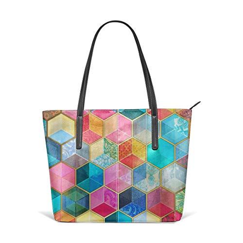 Cocoal-ltd Crystal Bohemian Wabenwürfel bunt Sechseck-Muster Leder Tasche Große Geldbörse Schultertasche Tragbare Aufbewahrung Handtaschen Ltd Crystal