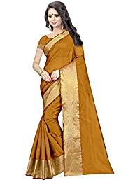 MAC Sarees Women's Cotton Silk Saree With Blouse Piece (Mac L604_Yellow)