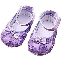 LUOEM Par de Lindos bebés niñas Rosas Bowknot decoración Prewalkers Zapatos (púrpura)