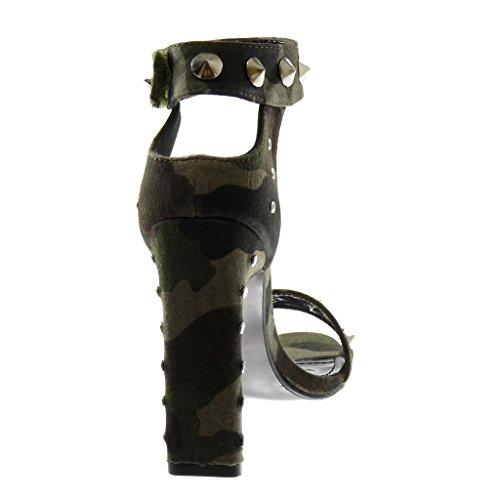 Modo Pattini Di Tacco Pattino Costellato Camuffamento Cinghia Sandalo Centimetri 11 Tallone Angkorly Alto Donna EUqdHxq