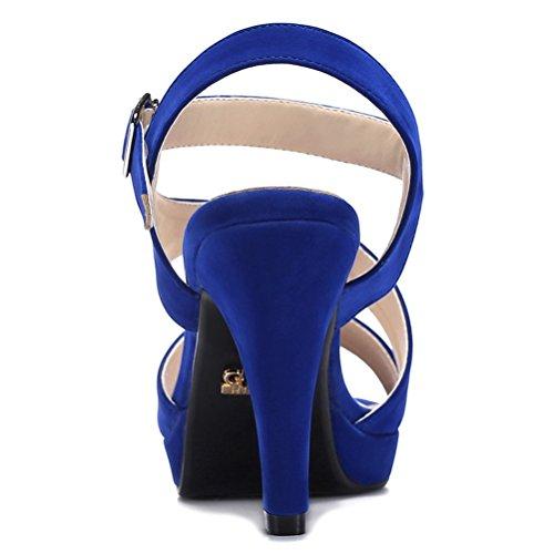 Modische Bequeme Sommer Damen Kühle Sandalen Dicke Sohle Keilabsatz Einfache Slip-on Offene Fischkopf Zehen Welleband Schnalle Stilettos Blau