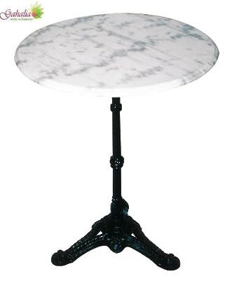 Bistrotisch Marmor Gahalia Gartentisch weiß, gusseisener Fuss mit Marmorplatte Ø60x73cm