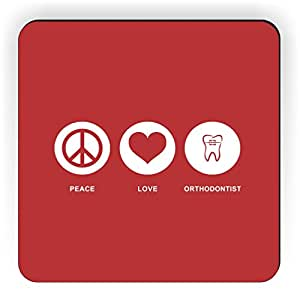 Rikki Knight Peace Love Orthodontist Design Square Fridge Magnet, Red