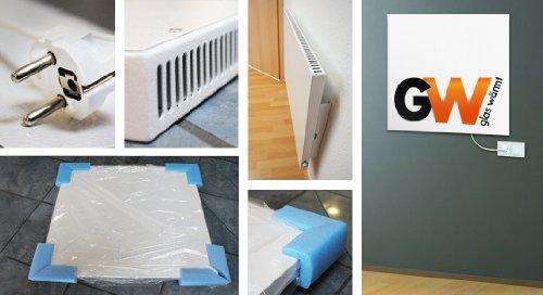 Preisvergleich Produktbild Infrarotheizung 600 Watt Heizung Dreh/Thermostatregler Hybrid